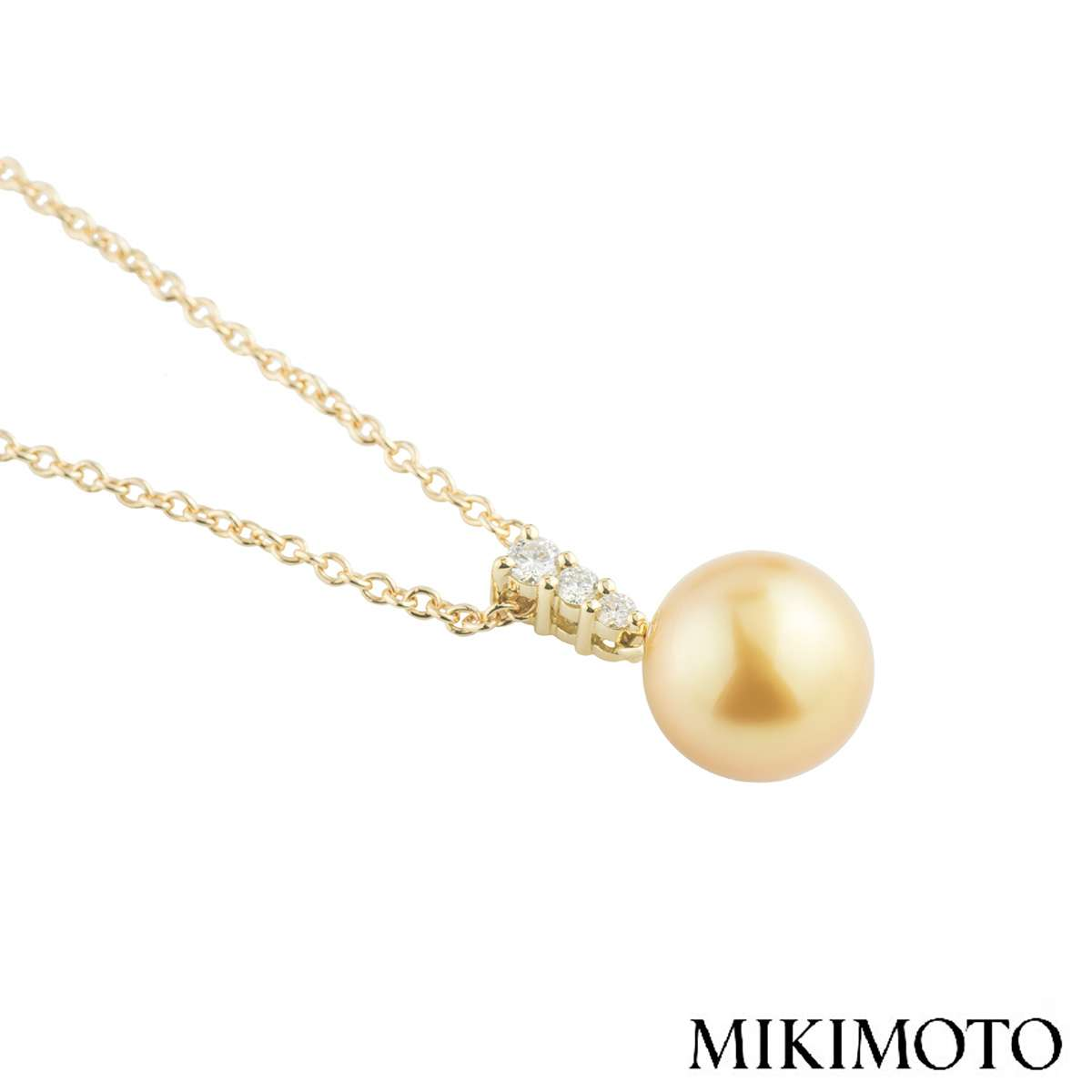 Mikimoto Diamond and Pearl Morning Dew Pendant 0.24ct E+/VS1